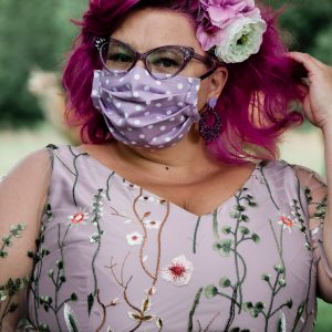 purple polkadot cotton face mask by Ooh Betty clothing