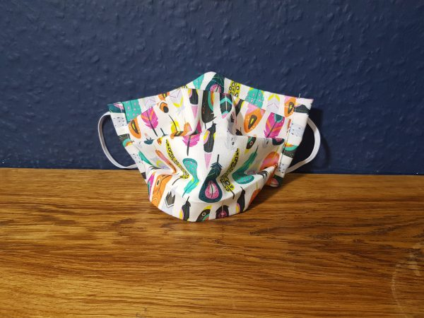 Funky feathers cotton face mask handmade by Ooh Betty Clothing
