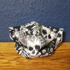 Black and white skulls face mask handmade by ooh betty clothing