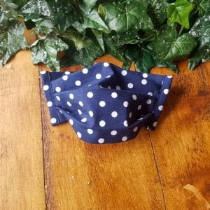 Navy polka dot cotton face mask handmade by ooh betty