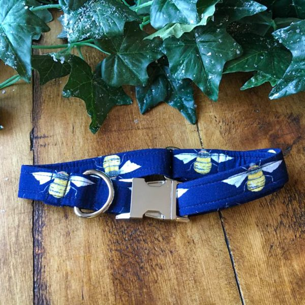 Bee Dog collar made by ooh betty clothing