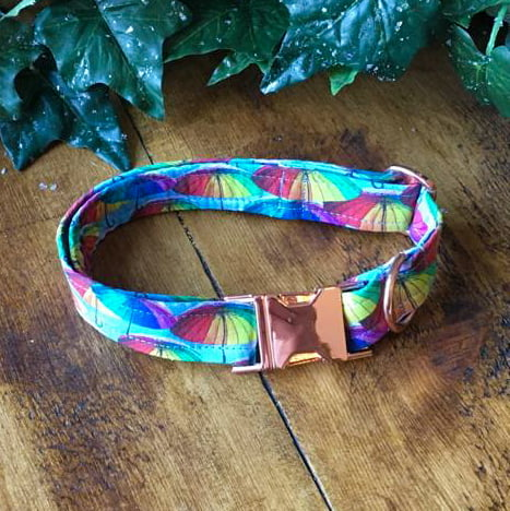Rainbow Umbrella cotton dog collar made by ooh betty clothing