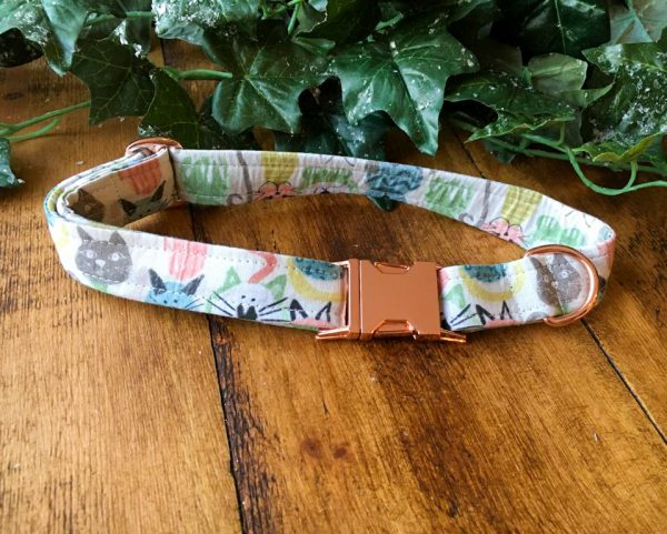 cats cotton dog collar made by ooh betty