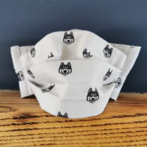 wolfhead cotton facemask by Ooh Betty clothing
